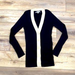 Black & Cream Ribbed Sweater Cardigan